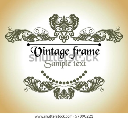 Graceful vintage frame - stock vector