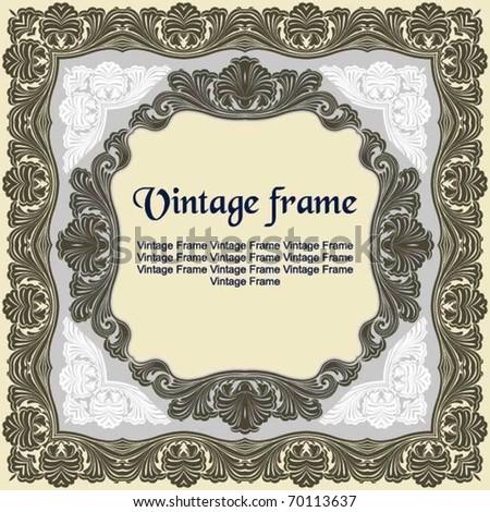 Graceful vintage frame - stock vector
