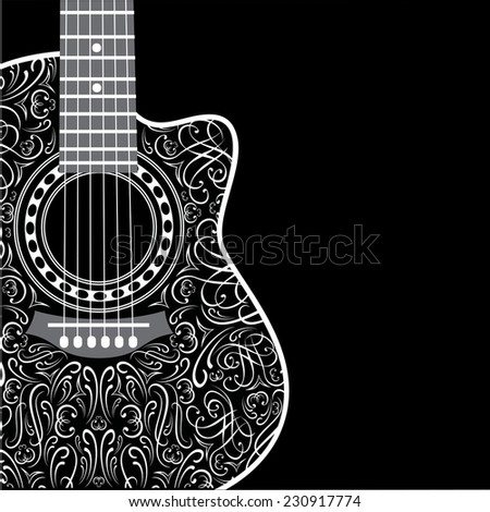 gradient background with clipped guitar and stylish ornament - stock vector