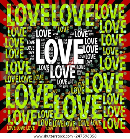 gradient background with ' love' words together and love letters become heart silhouette for celebration, greeting and graphic design  vector print pattern. valentines day.