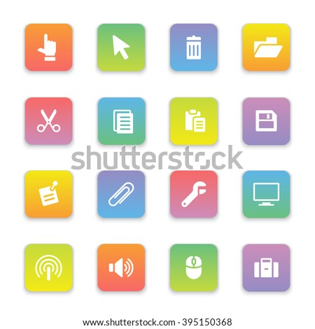 gradient colored flat computer and technology icon set on rounded rectangle for web design, user interface (UI), infographic and mobile application (apps) - stock vector