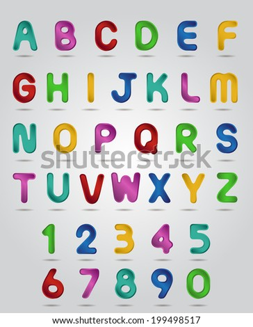 Gradient colorful  alphabet and numbers set.