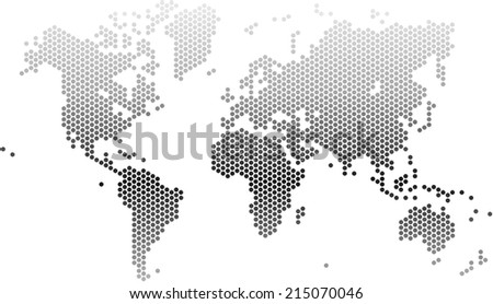Gradient dots world map on white stock vector 215070046 shutterstock gradient dots world map on white background vector illustration gumiabroncs Images