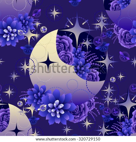 Gradient moon with succulent design among stars and glowing butterflies on dark evening background. Vector seamless pattern - stock vector