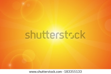 gradient of orange color with lens flare and bokeh background (vector)