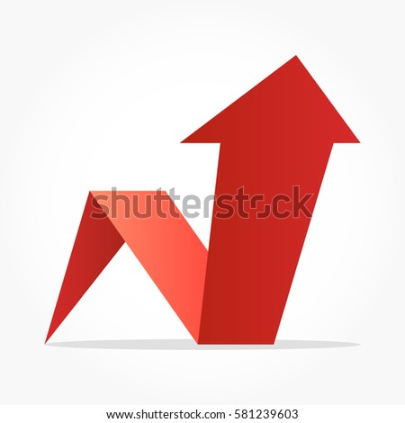 Gradient Red Arrow Pointing Up With Lighting And Shadow Effect
