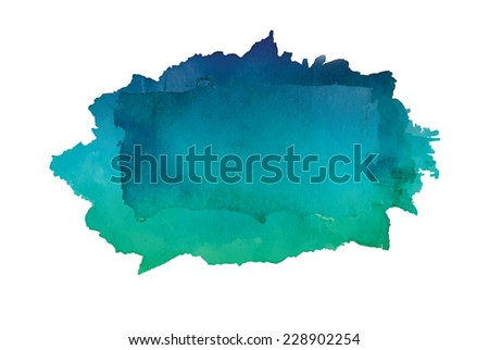 Gradient watercolor art hand paint isolated on white background. Square watercolour banner. Vector EPS10   - stock vector