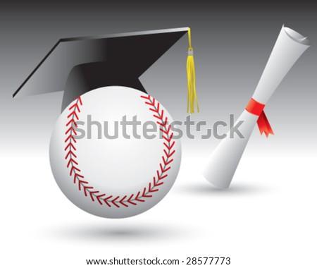 graduate baseball - stock vector