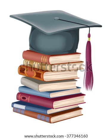 graduate cap lying on a pile of books
