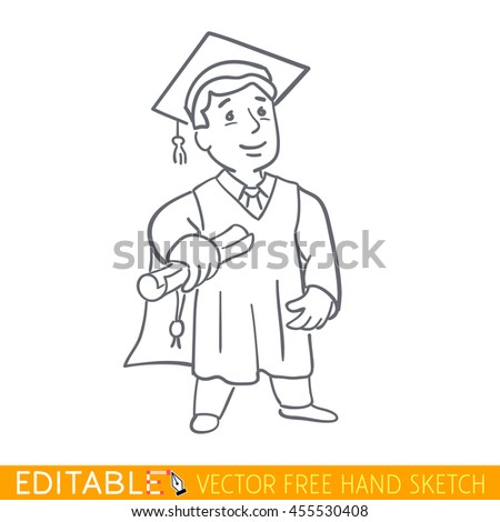 Graduate. Editable vector graphic in linear style.