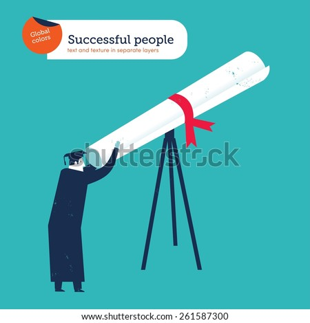 Graduate looking through a diplom telescope.  Vector illustration Eps10 file. Global colors. Text and Texture in separate layers. - stock vector