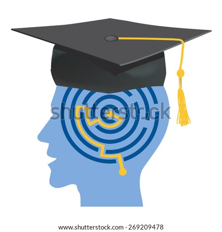 Graduate. Male head silhouettes with maze and mortarboard symbolizing graduate. Vector Illustration.  - stock vector