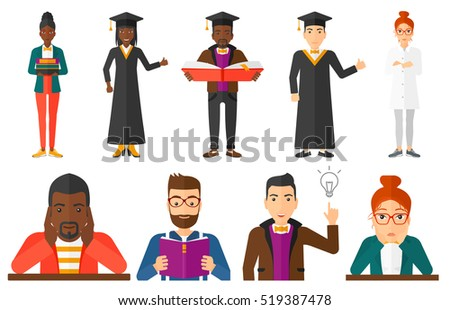 Graduate reading a book. Graduate in graduation cap standing with big book in hands. Student reading a book and preparing for exam. Set of vector flat design illustrations isolated on white background