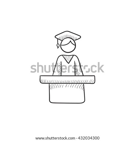 Graduate standing at the tribune vector sketch icon isolated on background. Hand drawn Graduate standing at the tribune icon. Graduate at the tribune sketch icon for infographic, website or app. - stock vector