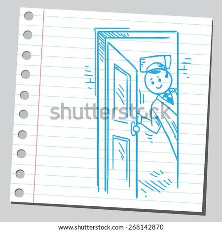 Graduate student opening door - stock vector