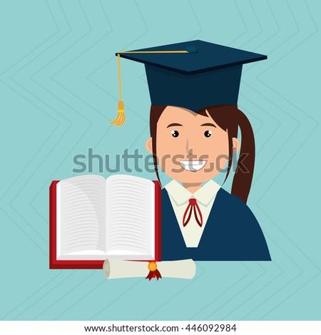 graduate student book diploma isolated icon stock vector  graduate student book and diploma isolated icon design vector illustration graphic