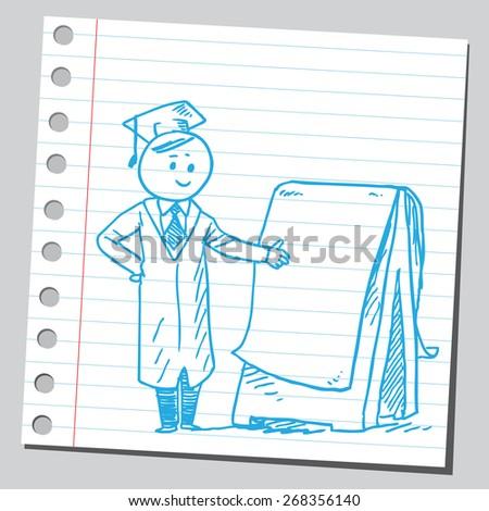 Graduate student with flipchart - stock vector
