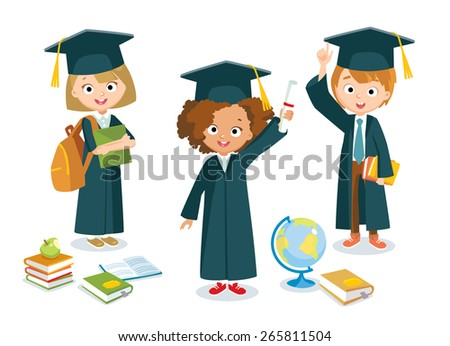 graduated pupils with globe and books - stock vector