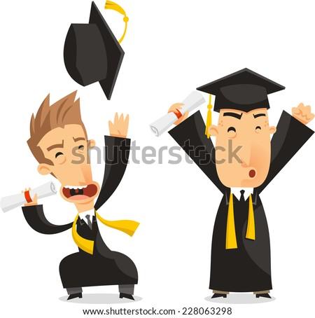 Graduates Bachelor Academic Degree, vector illustration cartoon. - stock vector