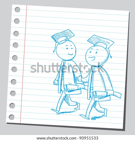 Graduates friends walking - stock vector