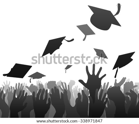 Graduates graduation crowd concept of student hands in silhouette throwing their mortar board caps in the air