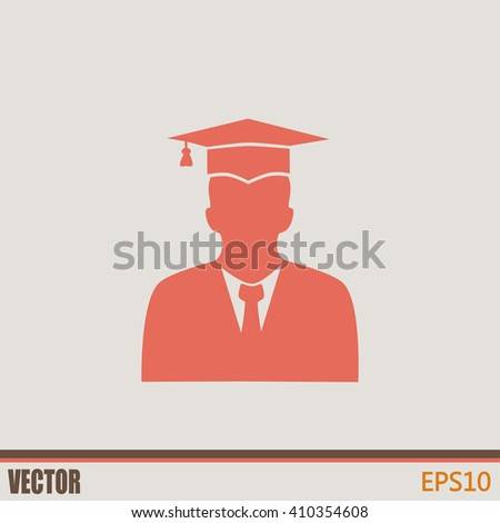graduates in gown and graduation cap icon. flat style vector - stock vector