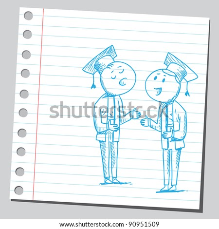 Graduates talking - stock vector