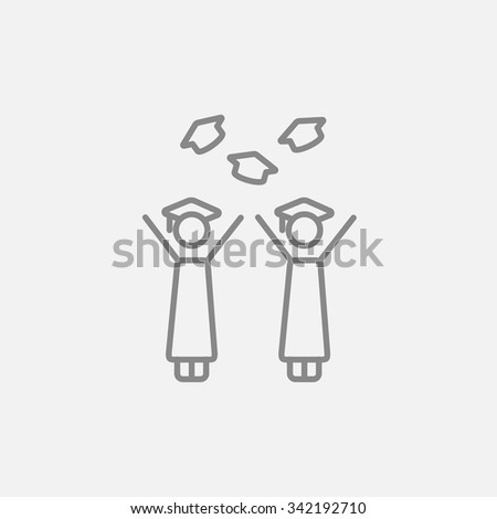 Graduates throwing caps line icon for web, mobile and infographics. Vector dark grey icon isolated on light grey background. - stock vector