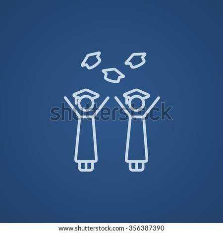 Graduates throwing caps line icon for web, mobile and infographics. Vector light blue icon isolated on blue background.
