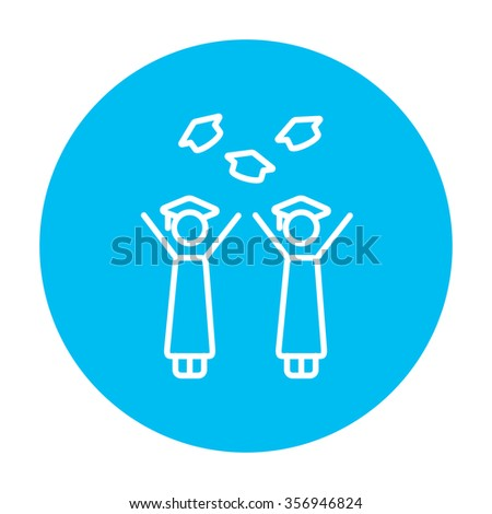 Graduates throwing caps line icon for web, mobile and infographics. Vector white icon on the light blue circle isolated on white background.