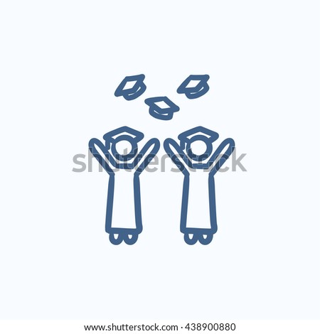 Graduates throwing caps vector sketch icon isolated on background. Hand drawn Graduates throwing caps icon. Graduates throwing caps sketch icon for infographic, website or app. - stock vector