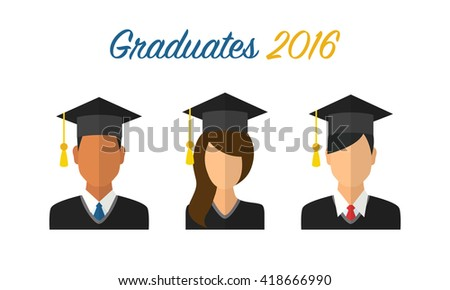 Graduates 2016. Young students in graduation caps and ceremony robes - stock vector