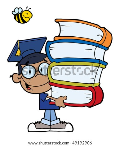 Graduation African American Boy With Books In Their Hands - stock vector