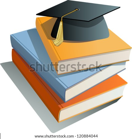 Graduation cap and books - stock vector