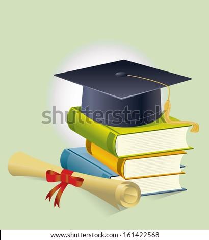 graduation cap and books - stock vector