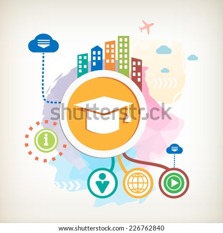 Graduation cap and city mark on abstract colorful watercolor background with different icon and elements. - stock vector