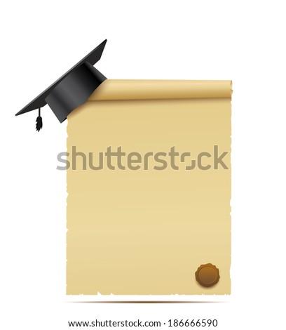 Graduation cap and diploma. - stock vector