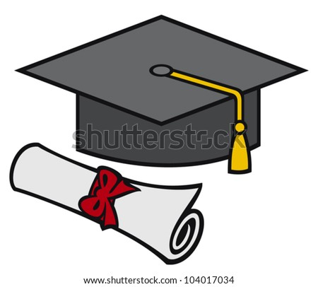 graduation cap and diploma (black graduation mortar board hat with gold trim) - stock vector