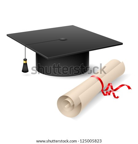 Graduation cap and diploma. Illustration on white background