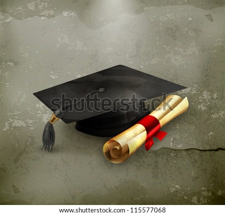 Graduation cap and diploma, old-style vector - stock vector