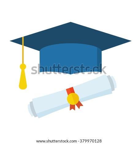 Graduation cap and diploma scroll flat design icon. Graduation celebration. Graduation icon. Isolated vector graduation hat. Graduation scroll. Graduation diploma. Graduation concept. - stock vector