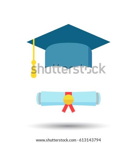 Graduation Cap Diploma Rolled Scroll Flat Stock Vector ...