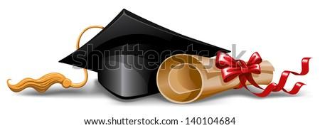 Graduation cap and diploma. Vector illustration. - stock vector