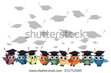 graduation cap and owl vector background