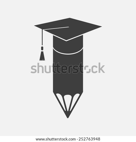 Graduation cap and pencil icon. Isolated on white background. Vector illustration, eps 8. - stock vector