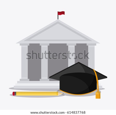 graduation cap building pencil university icon. Vector graphic