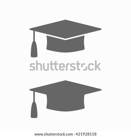 Graduation cap flat web icon. Silhouette graduation cap. Graduation cap isolated on background. Vector icon - stock vector