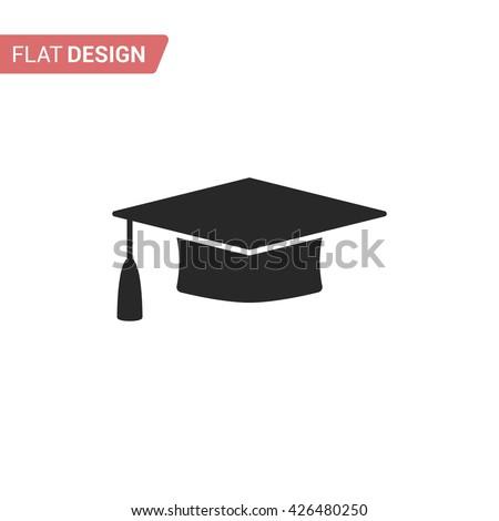 Graduation cap flat web icon. Silhouette graduation cap. Graduation cap isolated on background - stock vector