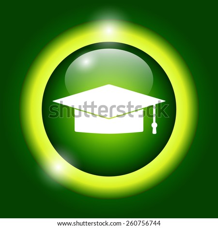 Graduation cap icon. Flat vector illustrator Eps  - stock vector