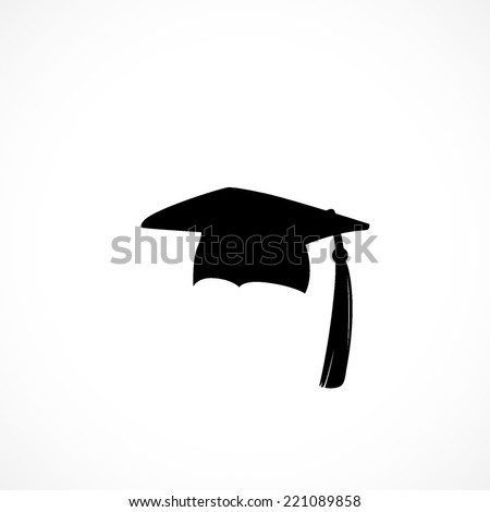 Graduation cap, icon isolated on white background - stock vector